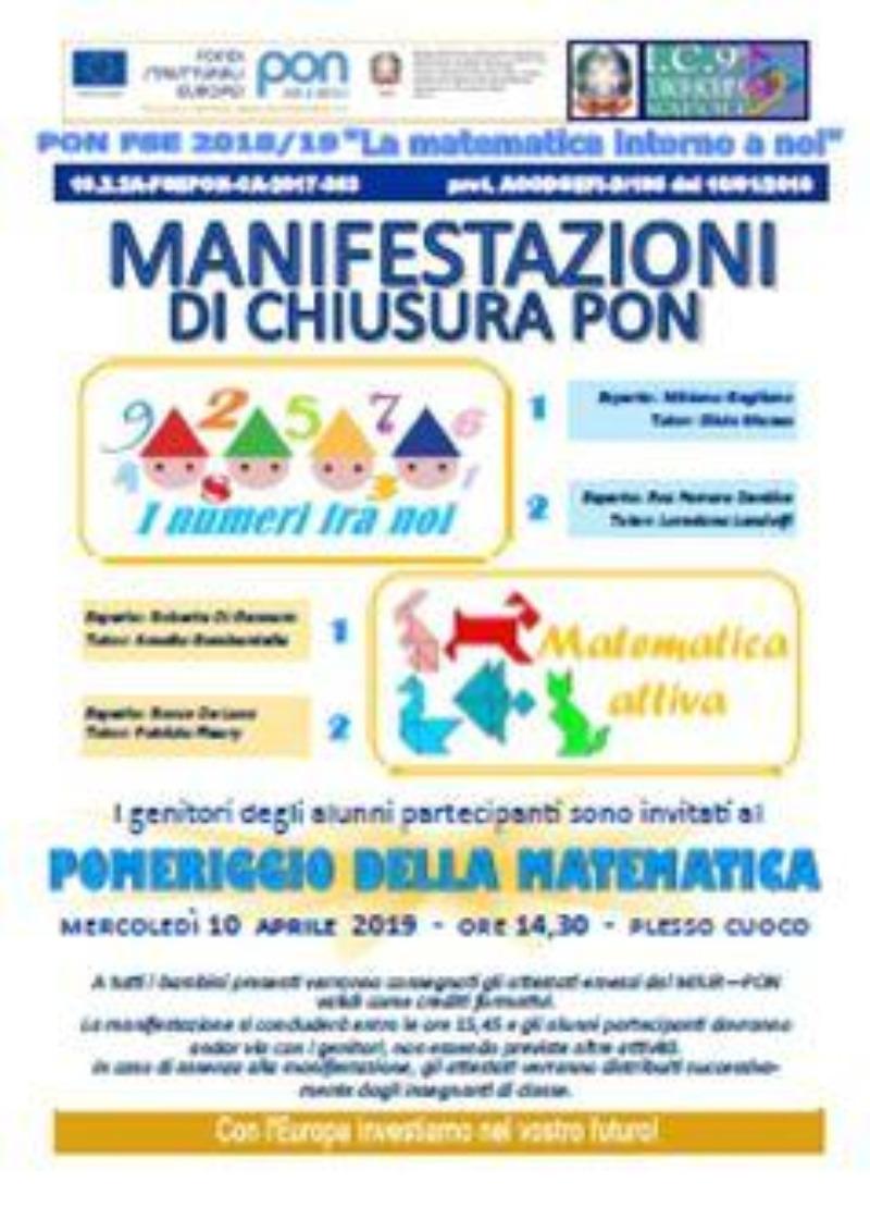 MANIFESTAZIONE DI CHIUSURA PON MATEMATICA - SCU...